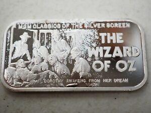1974 Silver Mint Wizard of Oz Dorothy Awakes  20 g Silver Art Bar  #1A
