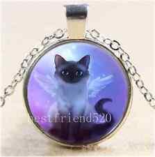 Cute Fairy Cat Photo Cabochon Glass Tibet Silver Chain Pendant  Necklace