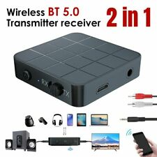 2 in 1 Bluetooth 5.0 Transmitter & Receiver Audio Adapter AUX For TV Car Speaker