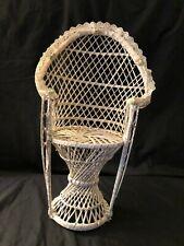 "Vintage Tall 16""  Wicker White Doll Bear Peacock Fan Back Chair Furniture Lace"