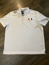 University Of Miami,  HURRICANES, Adidas Golf Polo Tech Shirt , Men's NWT 2XL