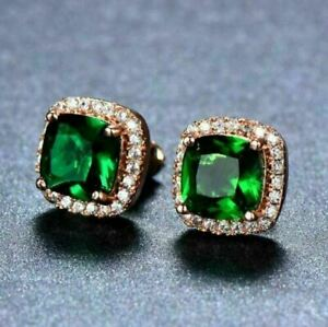 4Ct Cushion Cut 18K Rose Gold Over Green Emerald Push Back Halo Stud Earrings
