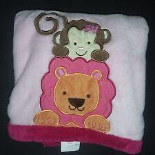 Tiddliwinks Baby Blanket Pink Lion Monkey Girl Flower 30x40