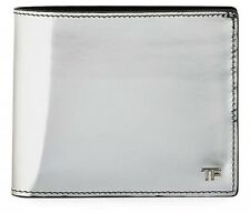 New Tom Ford Card Holder Bifold Wallet Palladium Plated Silver Mirrored Leather