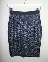 WHISTLES Brand Blue Sequins Pencil Skirt Size 6 LIKE NEW #AN02