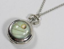 Luna Moth Wing Pocket Watch Pendant Necklace Silver Jewelry