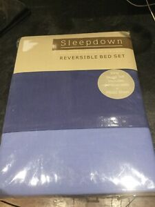 Sleepdown 4 piece reversible king size blue Bed set. New