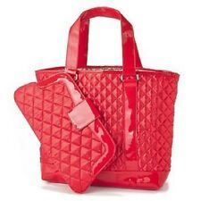 Perlina Quilted Satin Large Tote & Matching Clutch Purse Set, Red
