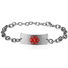 Mens Womens Medical Alert ID Bracelet Safety Identification Chain Free Engraving