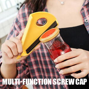 Jar Opener 5 in 1 Multi Function Can Bottle Opener Kit with Silicone Handle Easy