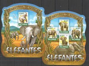 ST2311 2015 MOZAMBIQUE ANIMALS FAUNA WILD ELEPHANTS KB+BL MNH