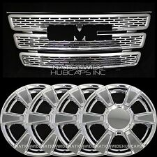 "GMC Terrain SLE CHROME SnapOn Grille Overlay Insert & 17"" Wheel Skins Rim Covers"