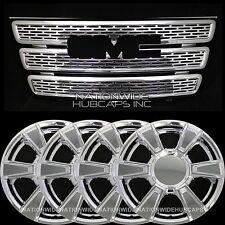 "GMC Terrain SLE CHROME SnapOn Grille Overlay Insert & 17"" Wheel Skins Rim Covers"