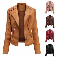 Womens PU Leather Jacket Zipper Biker Jacket Ladies Blazer Cool Coat Overcoat