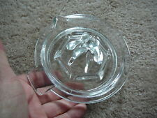 "VINTAGE CLEAR GLASS SMALL JUICE REAMER - POUR SPOUT & TAB HANDLE 5"" WIDE - GOOD"