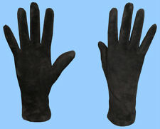 NEW WOMENS size 7 or M GENUINE BLACK SUEDE LEATHER GLOVES with CASHMERE LINING