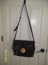Euc Donna Karen Black Leather Cross Body Bag