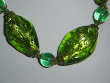 parure collana orecchini vintage in vetro MURANO verde argento tecnica sommerso