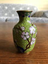 Vintage Cloisonné Miniature Vase Green Cherry Blossom