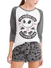 Women Nightmare Before Christmas long sleeve top shorts pajama pj set sleep XS