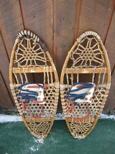 "Old Snowshoes 33"" Long x 13"" Wide with Leather Bindings Great for Decoration"