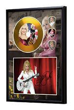 Dolly Parton Gold Vinyl Look CD, Autograph & Plectrum Display