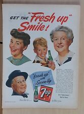 1944 magazine ad for Seven-Up - Get the Fresh up Smile! happy 7Up drinkers