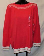 NWT XXL Women's Tommy Hilfiger Boat Neck Sweater - Pink w/ White Trim