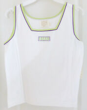 Womens Tennis Golf Athletic Tank Top Blouse by LBH, White, Size Petite, NWT