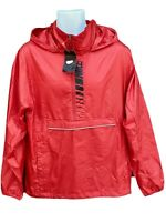 New NIKE MENS  Lightweight  Active Concealed Hood Rain Jacket Smock Red M