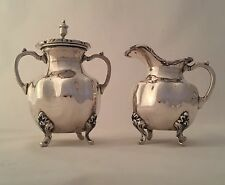 Vintage Sterling Silver Footed Creamer & Sugar Set Made by A. Torres Vega 1940's