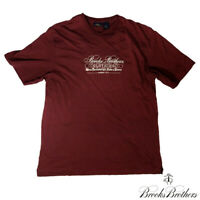 Brooks Brothers 346 Mens M Short Sleeve Graphic Tee Brand and Logo Purple