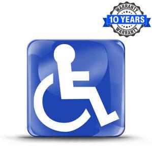 1 Aufkleber 3D Behindert Disabled Blau Symbol Rollstuhl Rollstuhlfahrer Schild