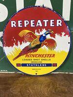 VINTAGE 1961  ''WINCHESTER'' REPEATER SHOT SHELL 12 INCH PORCELAIN DEALER SIGN