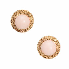 Angel Skin Coral Round Earrings Vintage 18k Yellow Gold Estate Fine Jewelry
