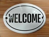 SMALL ANTIQUE STYLE ENAMEL WELCOME DOOR SIGN WALL PLAQUE