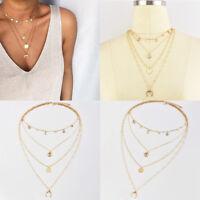 Multilayer Boho Choker Necklace Crystal Sun Moon Chain Gold Women Summer Jewelry