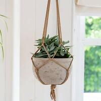 Vintage Large Indoor Hanging Storage Plant Holder Rope Basket Flower Pot Hanger