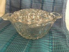 Flower Frog Vintage Heavy Clear Glass , removeable top, 16 holes