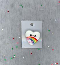 Rainbow & Hearts Fashion Pin Brooch Personalized PAULA - Stocking Stuffer