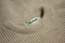 BARBOUR 100% Pure New Wool D 626 Cream Chunky Jumper Sweater SIZE XL
