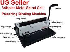 All Steel Metal Spiral Coil 34holes Punching Binding Machine A4 A5 Paper Binder