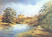 Art Postcard, Warkworth Castle, Northumberland by Edwin Blackburn 68T