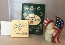 Snow Wonders American Peide By Sarah's Attic 4� Patriotic Snowman Figurine New
