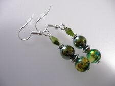 Vintage Art Deco Style Crystal Drawbench Glass & Green Hematite Long Earrings