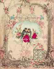 Pretty Altered Art Birds w Roses Fabric Block 5x7