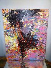 GRAFFITI ABSTRACT CANVAS PAINTING BY MUSK YAI 16X20 ooak 357 jackson pollock~