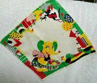 Children's  Tom Lamb  Elephant Gathering Flowers Primary Colors Handkerchief
