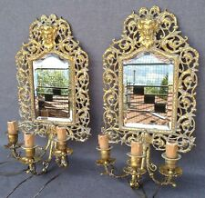 Big pair of antique french mirrors lamps bronze 19th century Napoleon III fawns