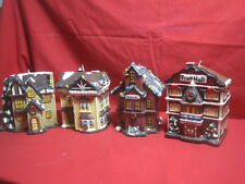 """Lot Of 4 Holiday Candles 2 Houses, School, Town Hall 5'x5'x5""""."""